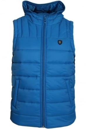 Beres Hooded Gilet | Blue & Mustard