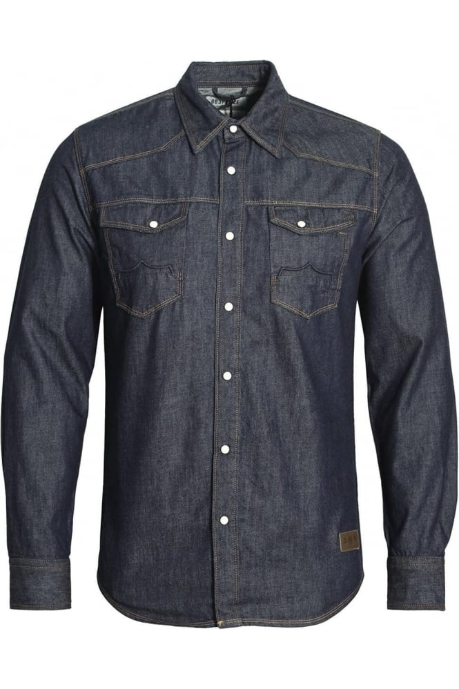883 POLICE Bronco Long Sleeve Denim Shirt | Dark Wash