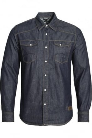 Bronco Long Sleeve Denim Shirt | Dark Wash