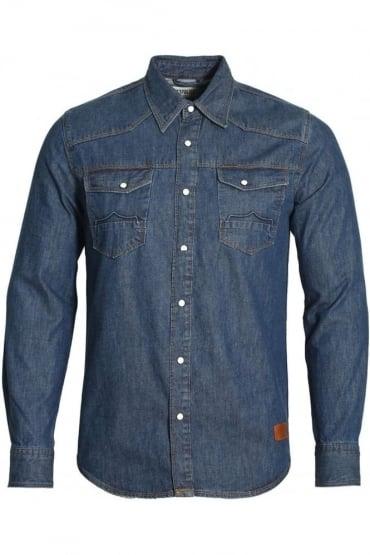 Bronco Long Sleeve Denim Shirt | Mid Wash