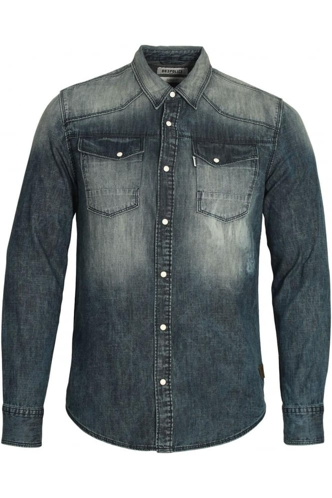 883 POLICE Bronco Long Sleeve Denim Shirt