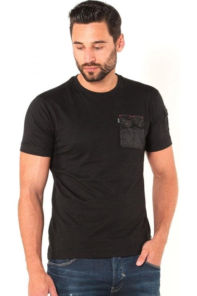 883 POLICE Crespa Button Down Pocket Men's T-Shirt   Black