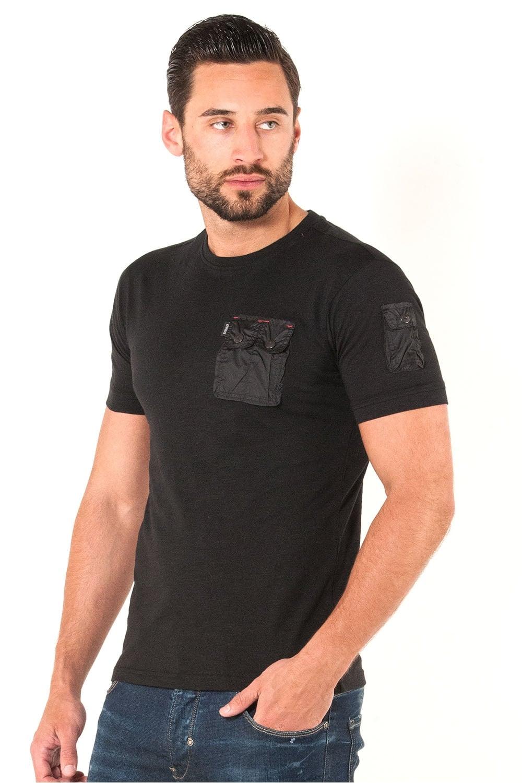 883 POLICE Crespa Button Down Pocket Mens T-Shirt Black