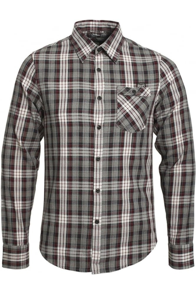883 POLICE Cyprez Long Sleeve Plaid Shirt | Grey