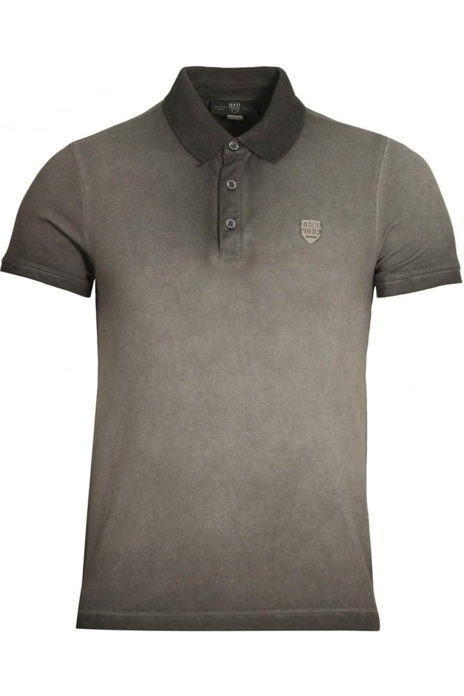 883 POLICE De'Angelo Cotton Jacquard Polo Shirt | Grey Black