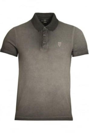 De'Angelo Cotton Jacquard Polo Shirt | Grey Black