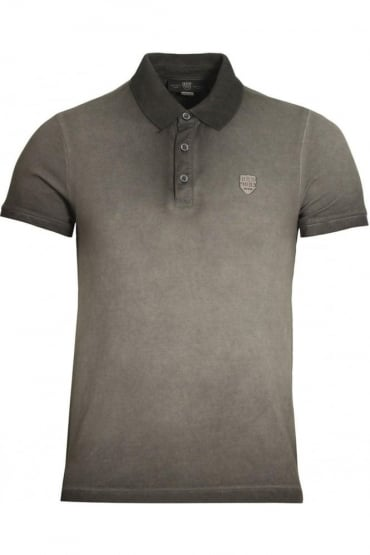 De'Angelo Cotton Jacquard Polo Shirt | Grey Black