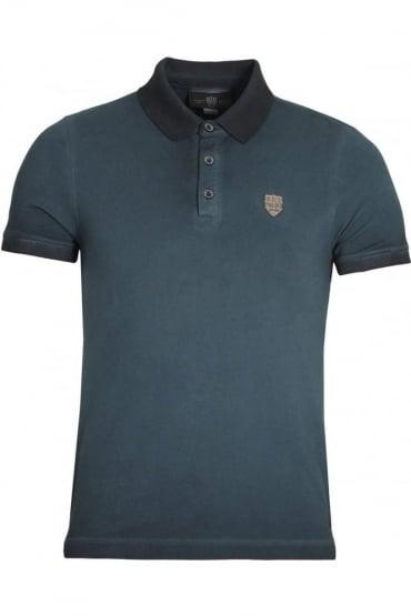De'Angelo Cotton Jacquard Polo Shirt | Navy