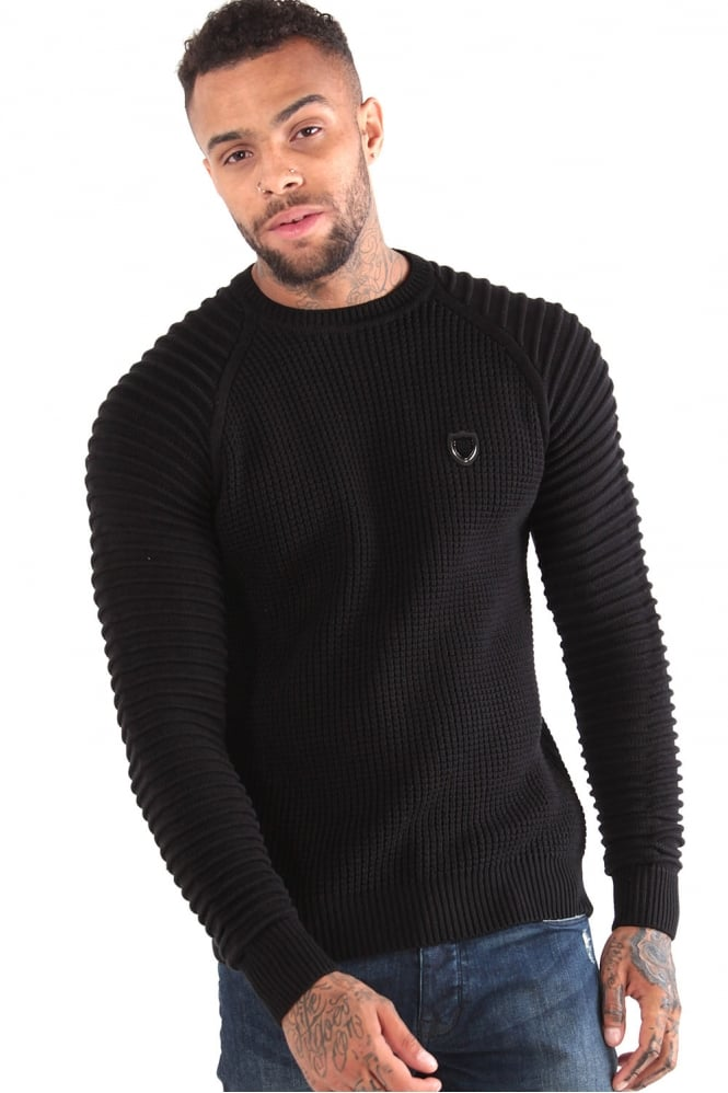883 POLICE Don Textured Knit Crew Neck Sweater Black