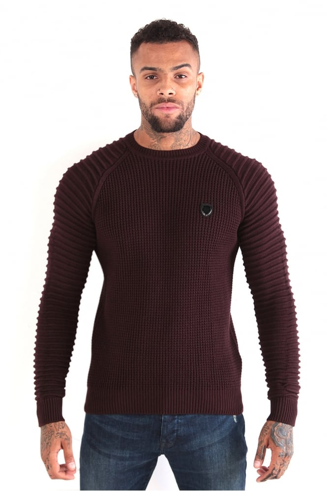 883 POLICE Don Textured Knit Crew Neck Sweater Burgundy