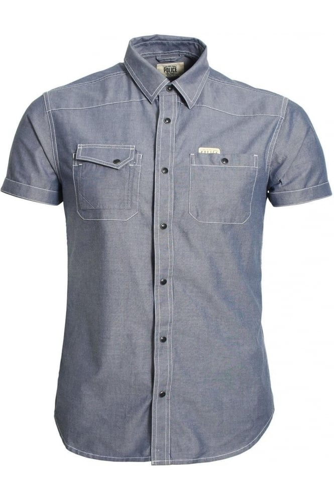 883 POLICE Ecco II Short Sleeve Denim Shirt | Blue