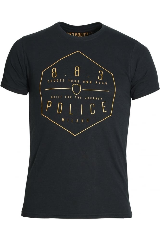 883 POLICE Edgar Graphic Print T-Shirt | Navy & Off White