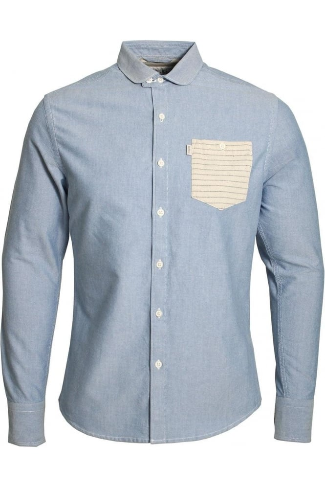 883 POLICE Gravity Slim Fit Denim Shirt | Light Blue