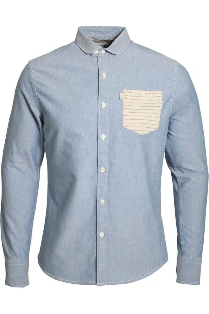 883 POLICE Gravity Slim Fit Denim Shirt   Light Blue