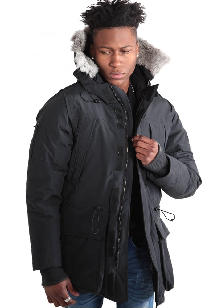 883 POLICE Guido Duckdown Hooded Parka Jacket | Black