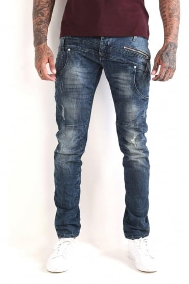 Hazard 401 Mid Wash Destroyed Denim Jeans