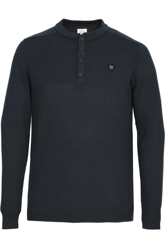 883 POLICE Hudsen Long Sleeve Knitted Polo Shirt | Navy