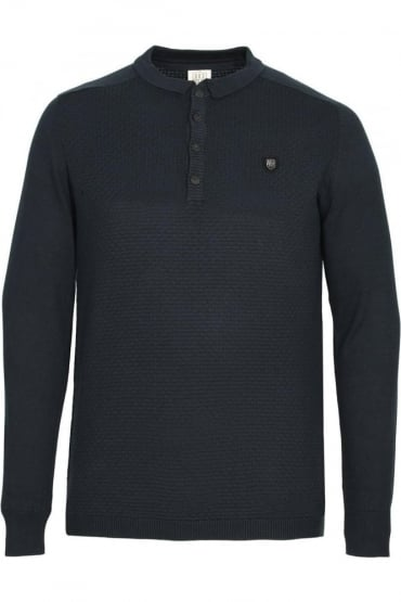 Hudsen Long Sleeve Knitted Polo Shirt | Navy
