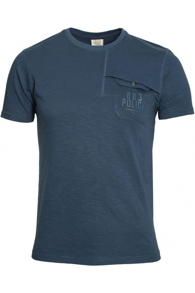 883 POLICE Lenny Pocket T-Shirt Navy & Off White