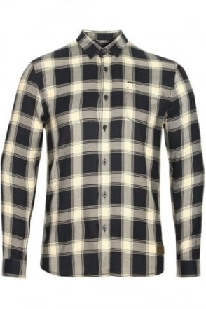 Leopard Long Sleeve Check Shirt | Navy White