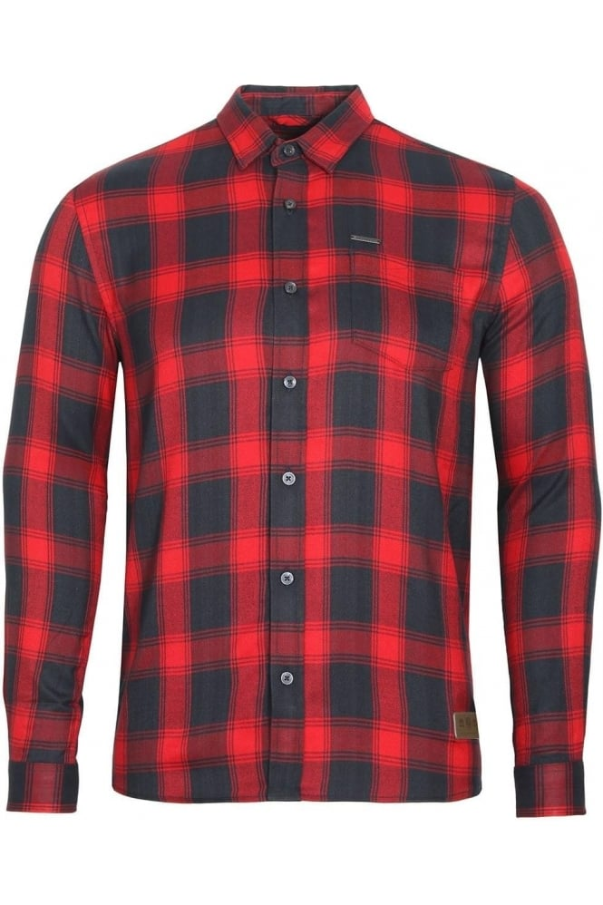 883 POLICE Leopard Long Sleeve Check Shirt | Red Navy