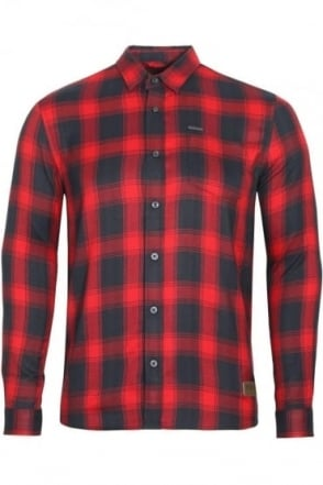 Leopard Long Sleeve Check Shirt | Red Navy