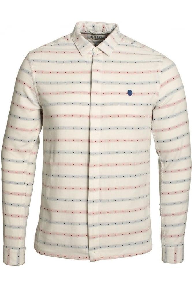 883 POLICE Leopard Long Sleeve Slim Fit Shirt   Ecru