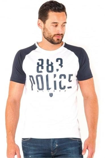 Malko Graphic Print Men's T-Shirt | White/Navy