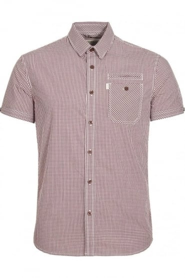 Ora Short Sleeve Checked Shirt | Maroon