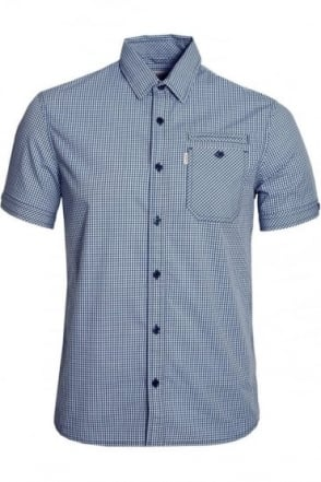 Ora Short Sleeve Gingham Shirt Stellar Blue