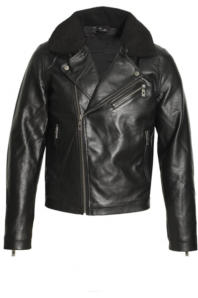 883 POLICE Runell Faux Leather Biker Jacket | Black