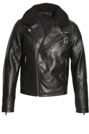 Runell Faux Leather Biker Jacket | Black