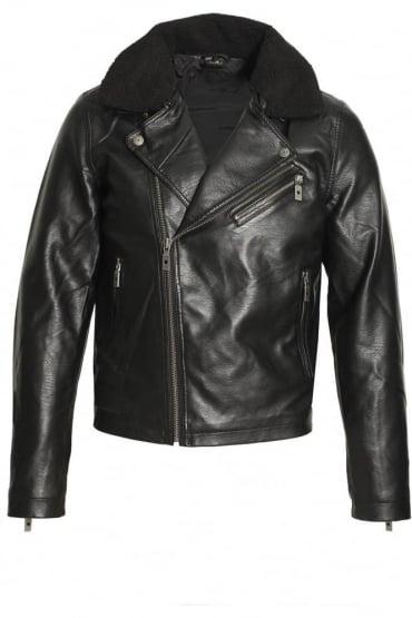Runell Faux Leather Biker Jacket | Black
