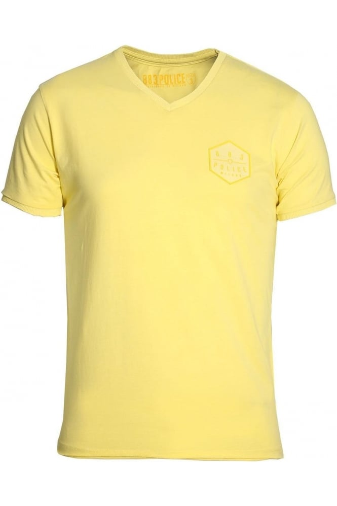883 POLICE Showtek V-Neck T-Shirt Lemon Yellow & Blue Moon