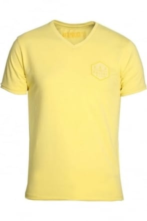 Showtek V-Neck T-Shirt Lemon Yellow & Blue Moon