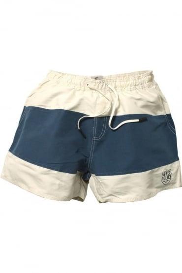 Vortex Swim Shorts | Off White & Navy