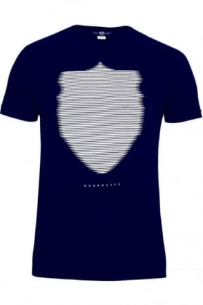 Wolf Graphic Print T-Shirt Navy