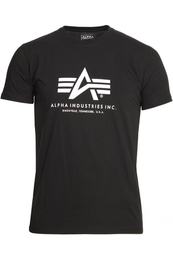 ALPHA INDUSTRIES Basic Black Cotton Logo T-Shirt