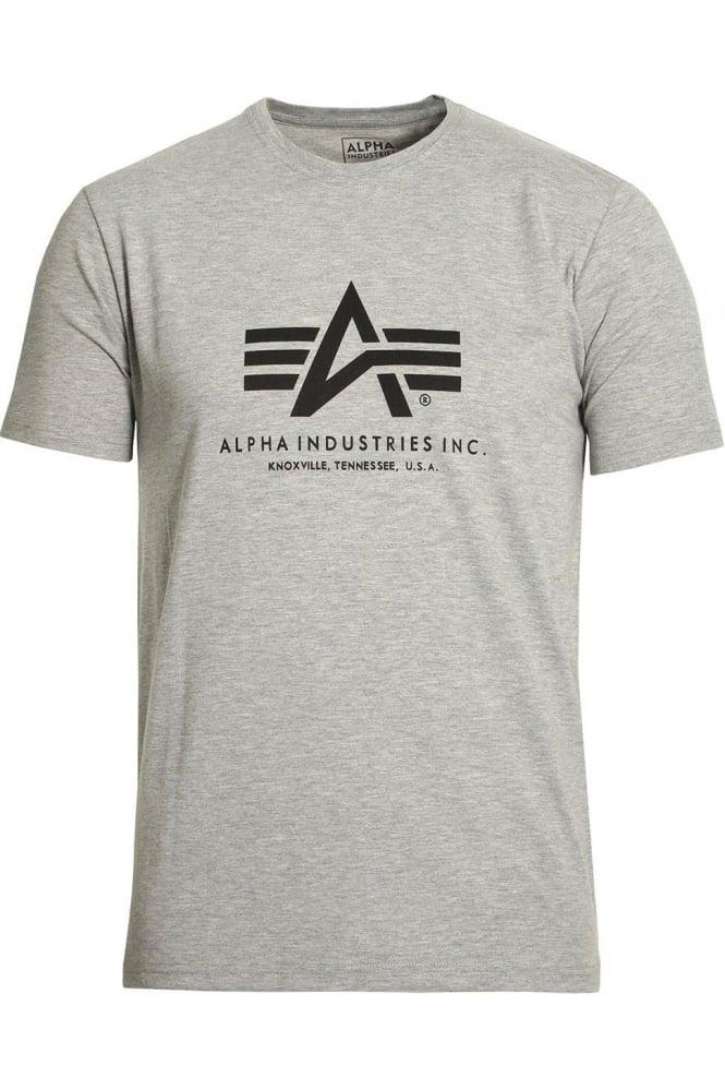ALPHA INDUSTRIES Basic Heather Grey Cotton Logo T-Shirt
