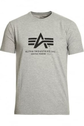 Basic Heather Grey Cotton Logo T-Shirt