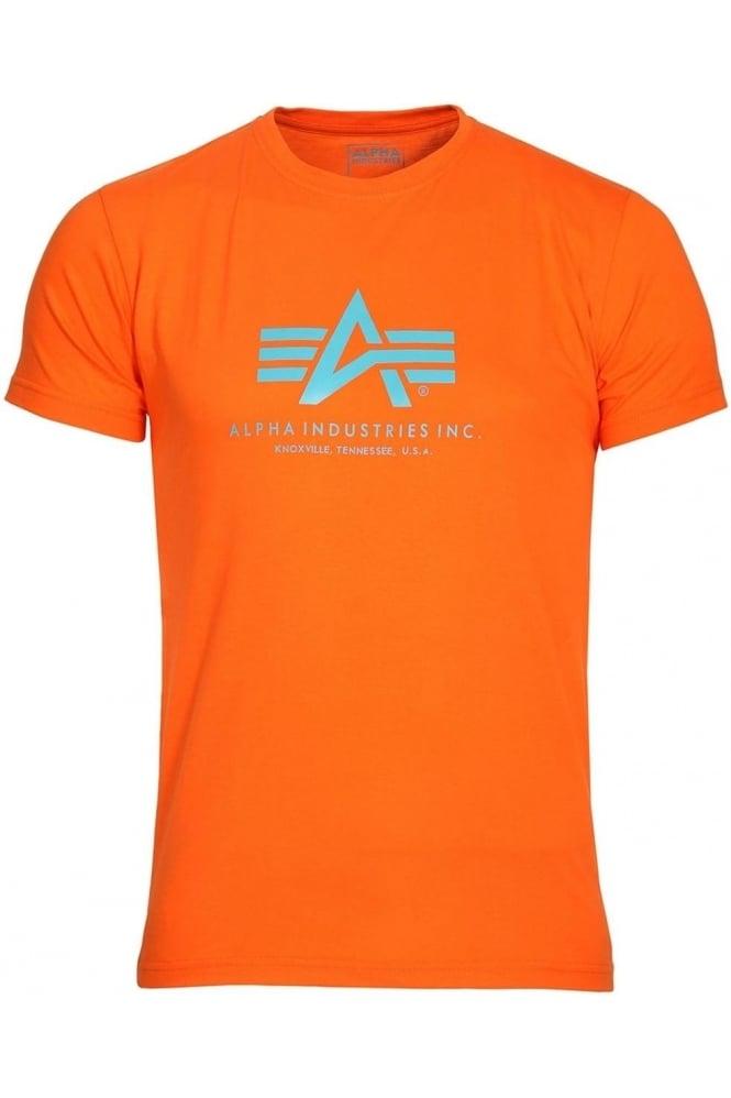ALPHA INDUSTRIES Basic Orange Cotton Logo T-Shirt