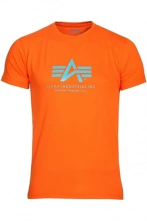 Basic Orange Cotton Logo T-Shirt