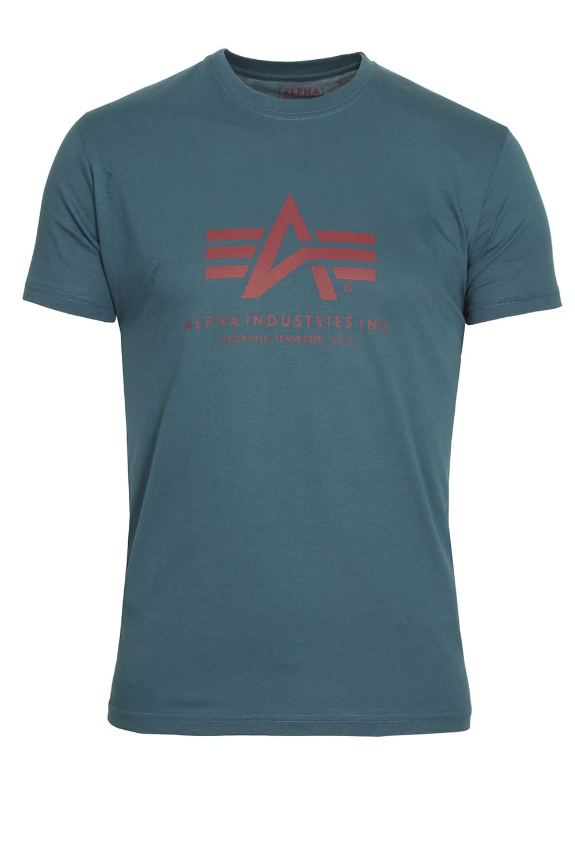 alpha industries basic petrol blue logo t shirt shop alpha t shirts. Black Bedroom Furniture Sets. Home Design Ideas