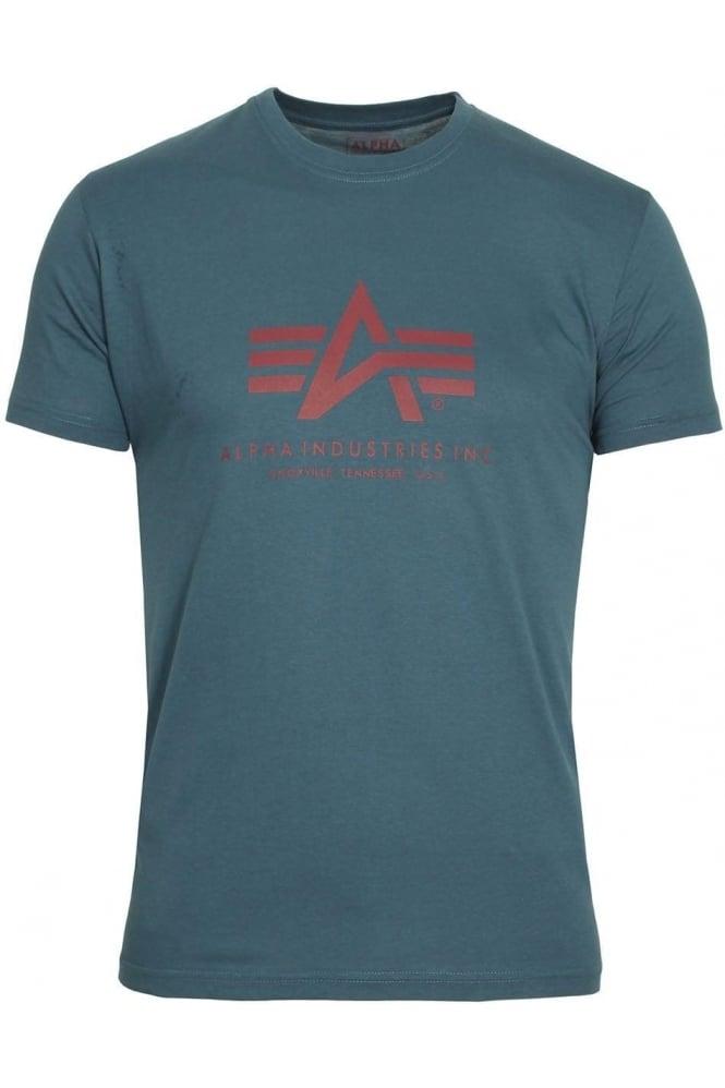 ALPHA INDUSTRIES Basic Petrol Blue Logo T-Shirt