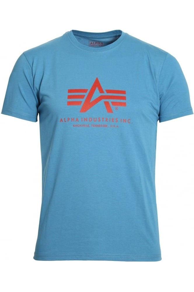 ALPHA INDUSTRIES Basic Royal Blue Cotton Logo T-Shirt