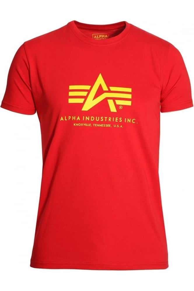 ALPHA INDUSTRIES Basic Speed Red Cotton Logo T-Shirt