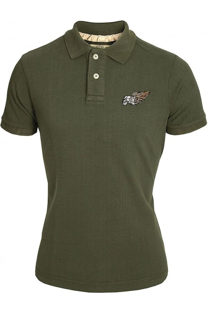 ALPHA INDUSTRIES Burning Skull Polo Shirt   Olive & Charcoal