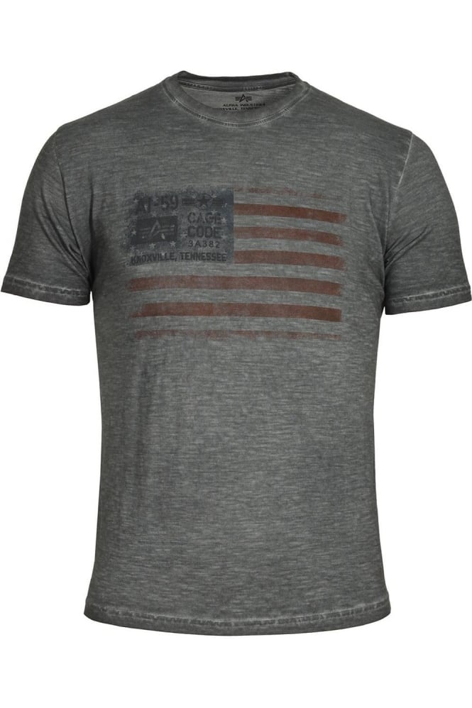 ALPHA INDUSTRIES Cage Code T-Shirt Grey Black