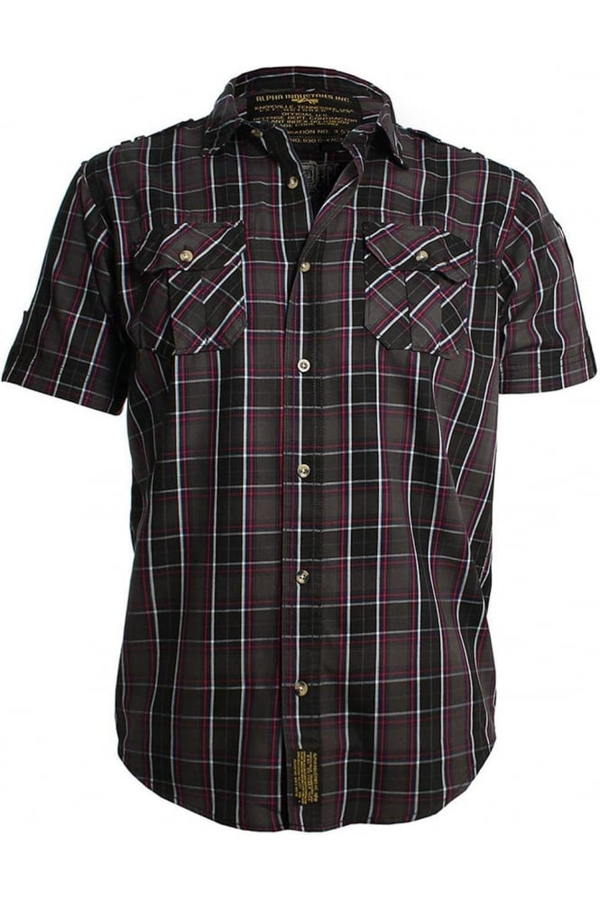 ALPHA INDUSTRIES Checked Combat Shirt | Charcoal