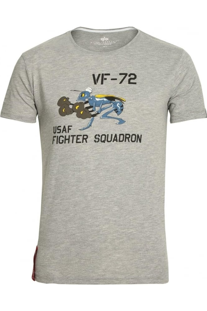 ALPHA INDUSTRIES Fighting Hornet T-Shirt | Heather Grey